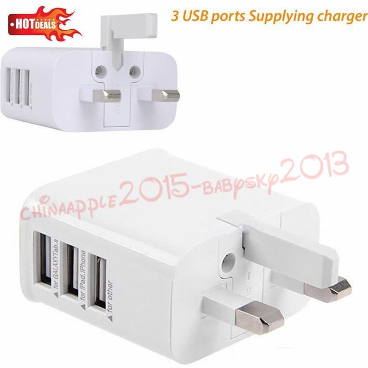 3 USB Port UK 3 Pin Plug Wall Charger Power Adapter For Samsung galaxy s6 s7 edge note 8 10 htc android phone pc mp3