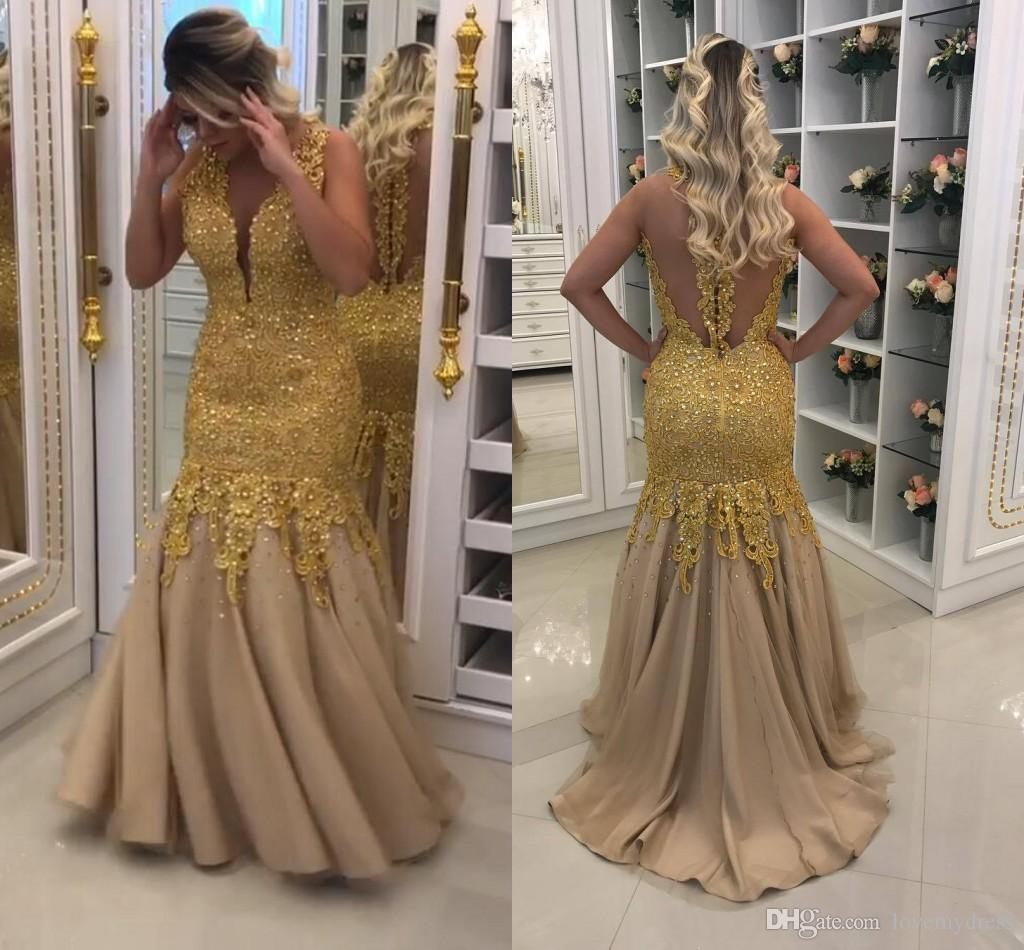 Gold Luxury Evening Gowns Long Cheap 2018 Hollow Back Applique Lace ...