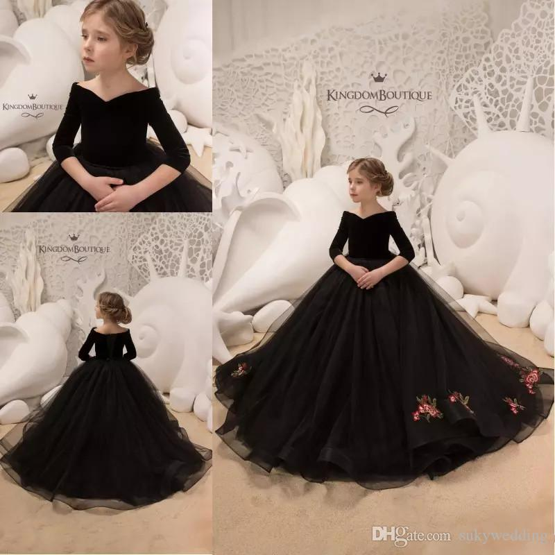 2019 Black Toddler Girls Pageant Dresses Lace Appliques Long Sleeves