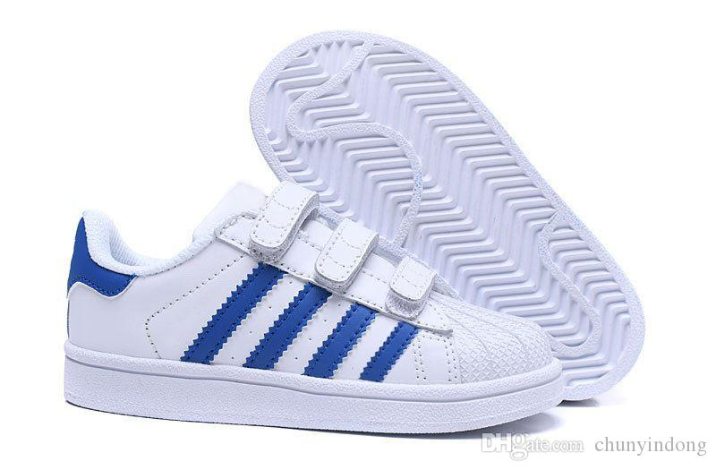 2019 Adidas  Superstar Marca Niños Superstar zapatos Original White Gold baby kids Superstars Sneakers Originals Super Star girls boys Sports kids shoes 28-3
