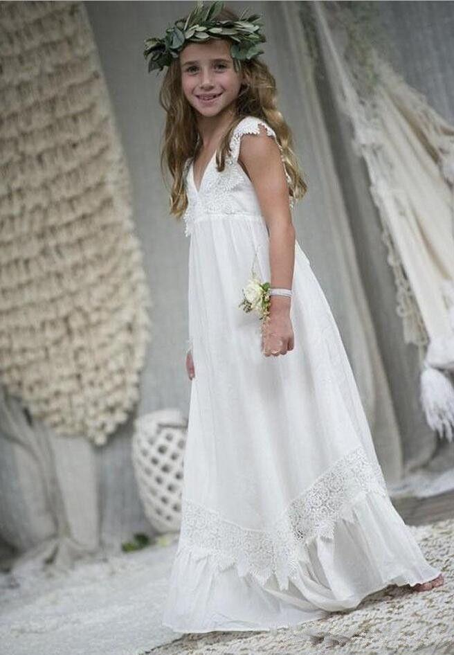2020 Nouvellement plage Boho robes fille fleur en mousseline de soie Taille personnalisée Sainte Communion Robes enfants Petit col en V Enfant Formal anniversaire Commuion Robes