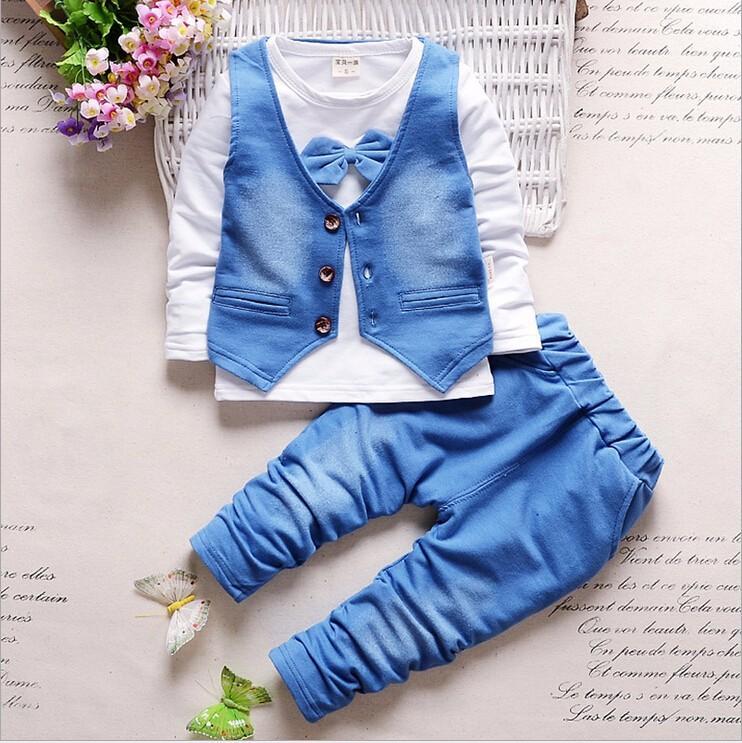 Boy Clothes Fashion Baby Boy Clothing Sets Kids Clothes + Pants Suit ... f52ea92424