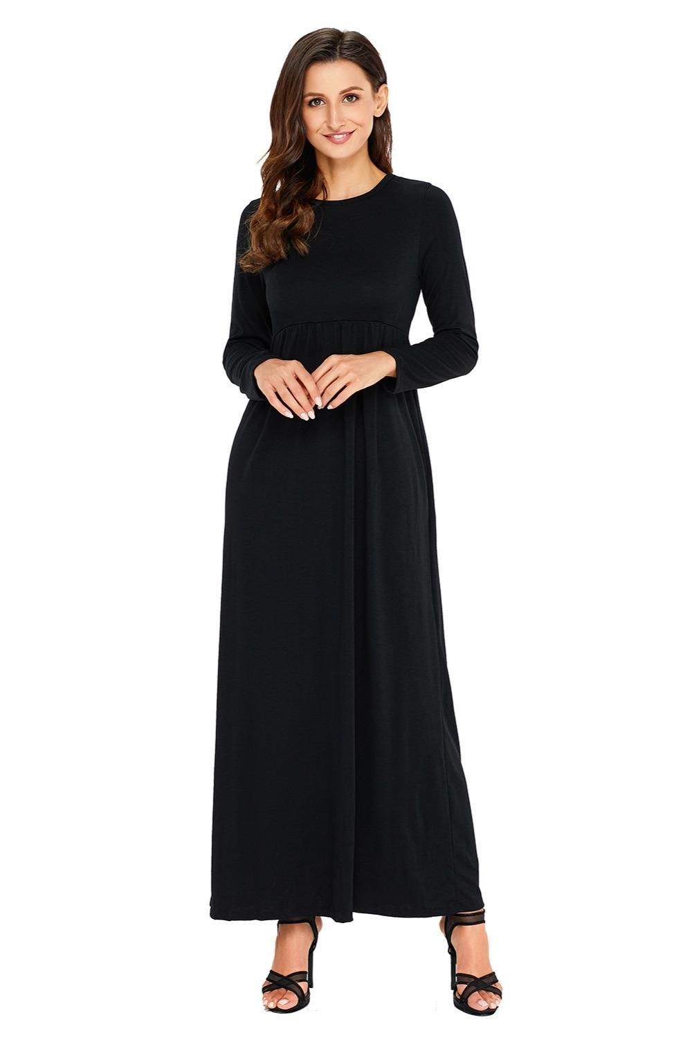 Acheter Femme Vêtements Été Automne Robes Solides Chemise De Base Tops  Casual Cocktail Manches Longues Taille Haute Maxi Jersey Robe 61708 De   61.81 Du ... ebbafb44c3d