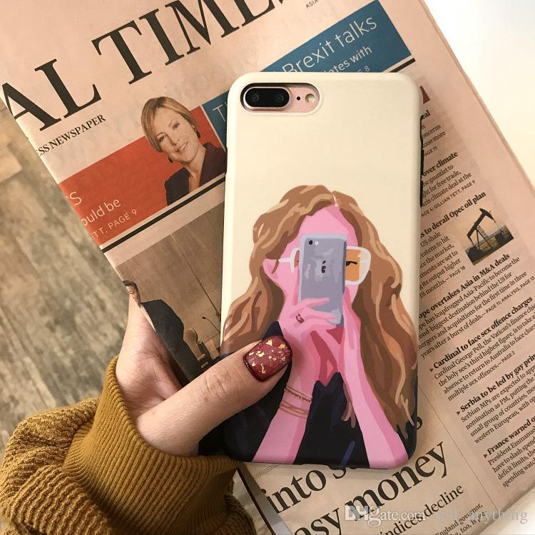 For Iphone X Phone Cases Selfie Girl Environmental Protection TPU Soft Shell IMD Technology Cell Phone Case For Iphone 6 7 8 Plus