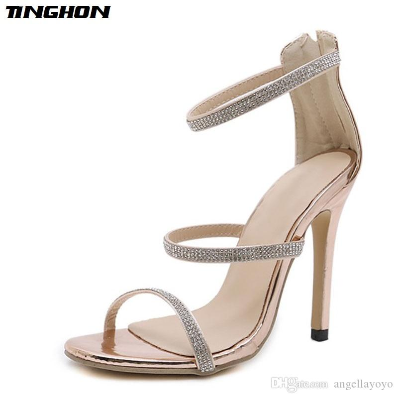 56520c06ab29c1 Buckle Strap High Heels Crystal Sandals Women 2018 Rhinestone Sandals  Summer Shoes Fashion Thin Heels Chaussure Femme Sandals Shoes Gladiator  Online with ...