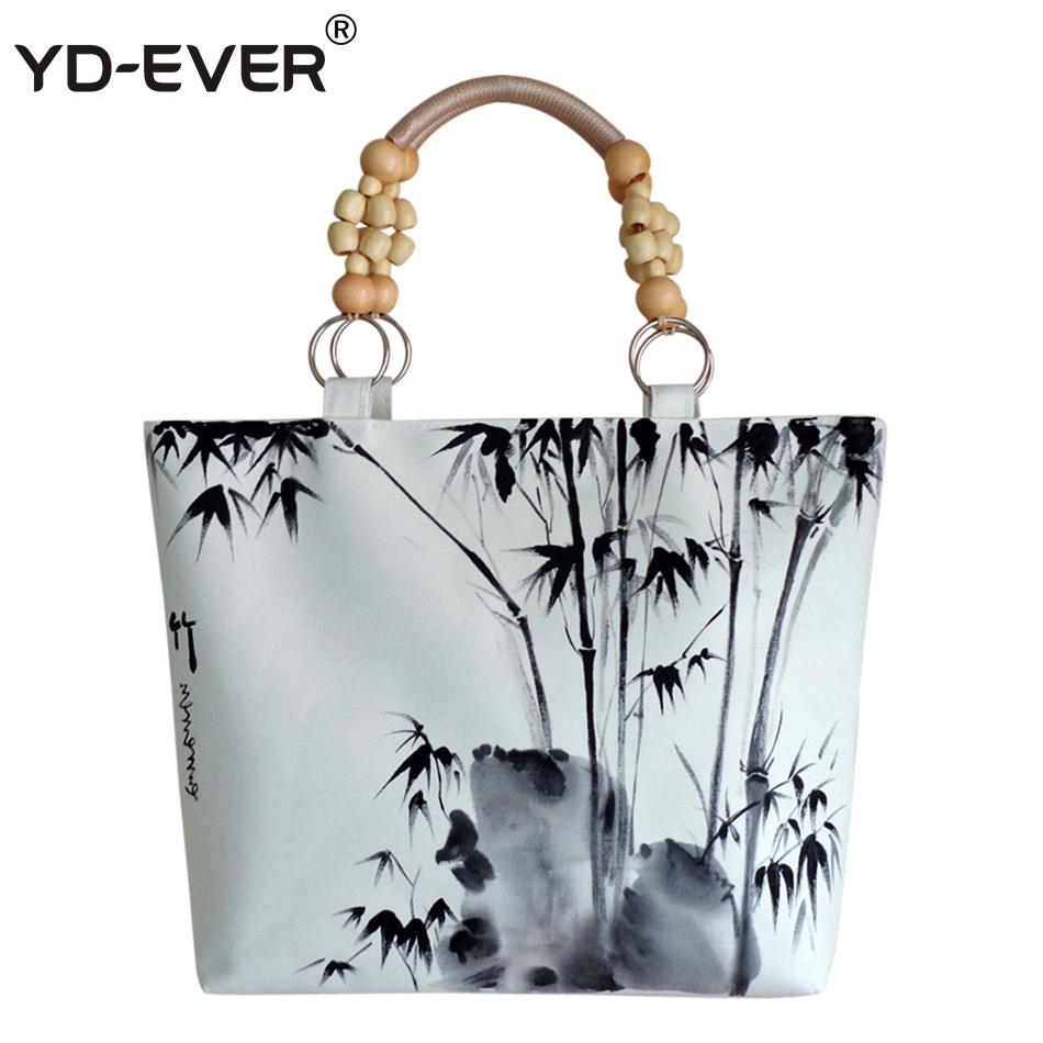 be089b1cd9c9 YD EVER Style Ink Painting Women Handbag Canvas Bamboo Printed Shoulder Bags  With Wood Beaded Handle Female Tote Sac Womens Handbags Handbags From  Abcindy