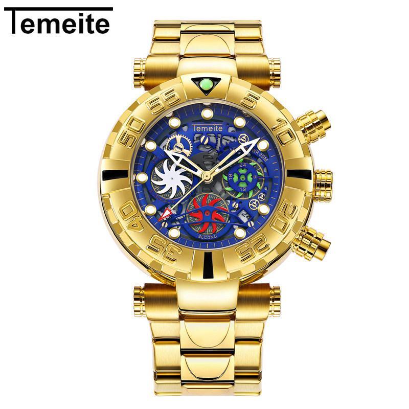 c976acc9527 Compre O Homem Assiste À Prova D água De Ouro De Luxo Azul TEMEITE Marca Mens  Relógios De Pulso De Quartzo Multifunções De Aço Inoxidável Cronógrafo ...