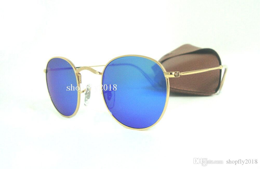 High Quality Mens Womens Round Sunglasses Metal Sun Glasses Eyewear Gold  Blue Mirror 50mm Glass Lenses With Brown Case Knockaround Sunglasses  Sunglases From ... d887c2f3ad