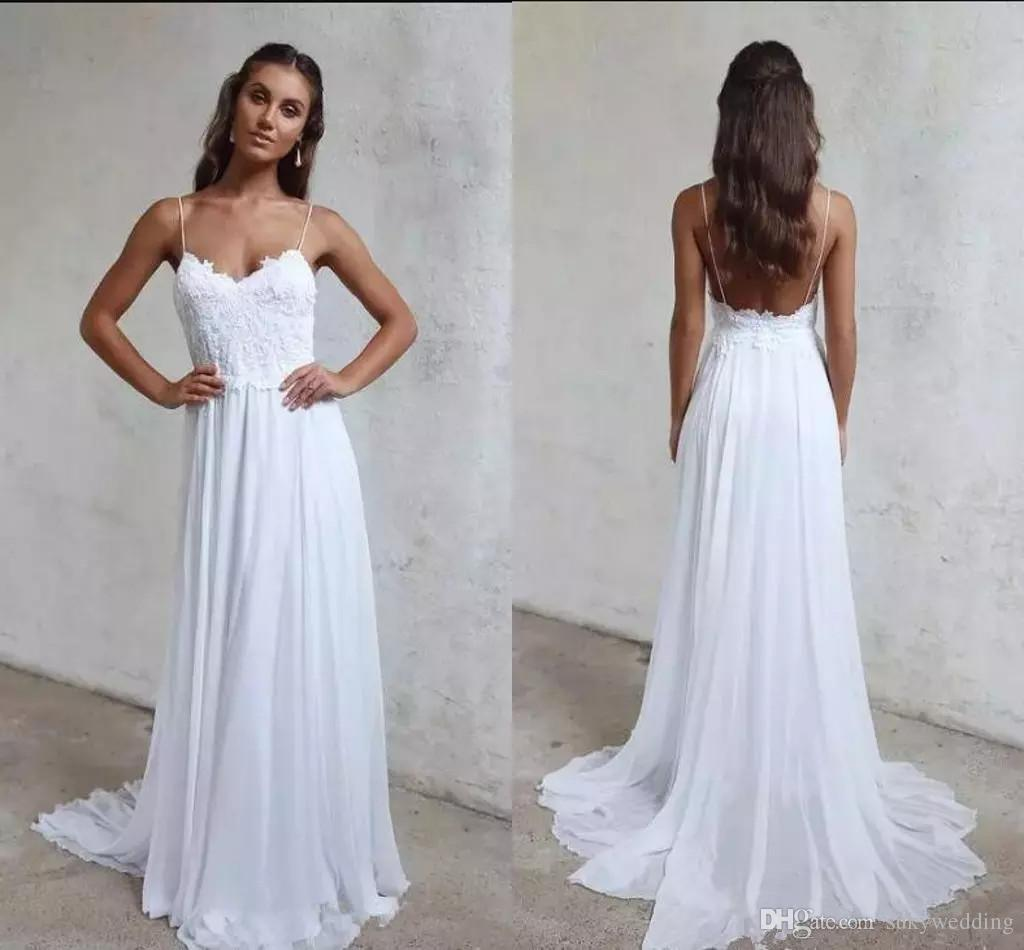 Discount 2018 Cheap Chiffon A Line Summer Beach Wedding Dresses Lace Top  Simple Spaghetti Straps Backless Boho Wedding Bridal Gowns Under 120   Destination ... 6b36a279d969