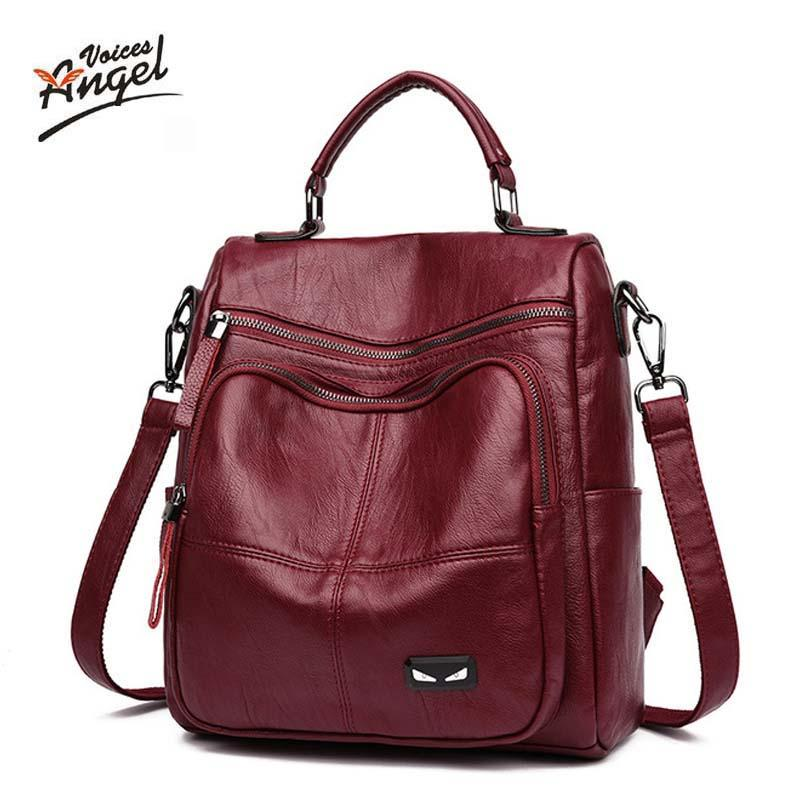 1792c67cbc0b Women Genuine Leather Bag Backpack Famous Brands Double Strap Fashion Dual  Use Package Bags For Young Girls School Backpacks Swiss Gear Backpack  Osprey ...
