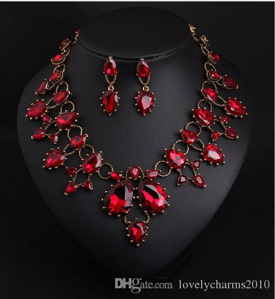 High Quality Crystal Earring Necklace Short Clavicle Necklaces Gemstone Charms Women Jewelry Bib Statement Necklace Earring Necklace Set