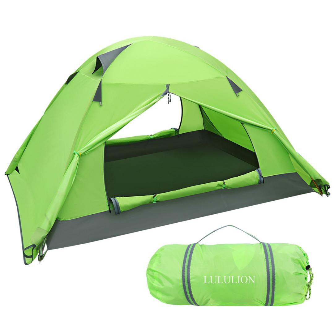 PU Coating Backpacking Waterproof Tent Two Doors Double Layer Anti-UV with  Aluminum Rods for Outdoor Camping with Carry Bag