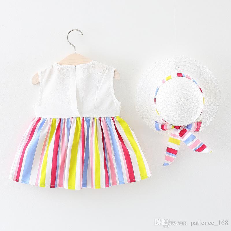 robe 2018 INS nouvelle arrivée style coréen été couleur bande sans manches collier de poupée robe filles confortables gilet robe + chapeau livraison gratuite