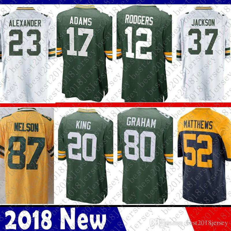 bb946f3f3 2019 Men 12 Aaron Rodgers Jersey Green Bays Packers 80 Jimmy Graham 23  Jaire Alexander 37 Josh Jackson 4 Favre 17 Davante Adams 52 Matthews From  ...