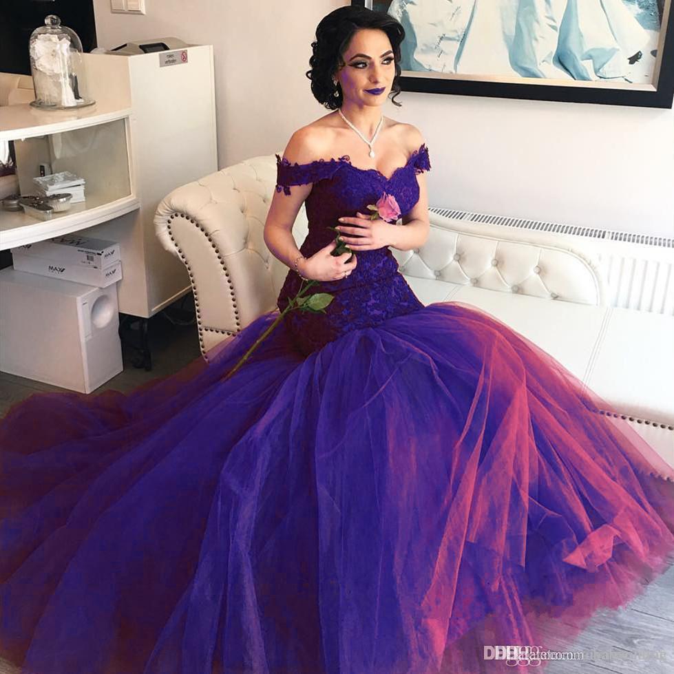 2019 Bordo Mermaid Gelinlik Modelleri Aso Ebi Kapalı Omuzlar Sevgiliye Dantel Korse Tül Uzun Backless Abiye giyim Sweep Tren