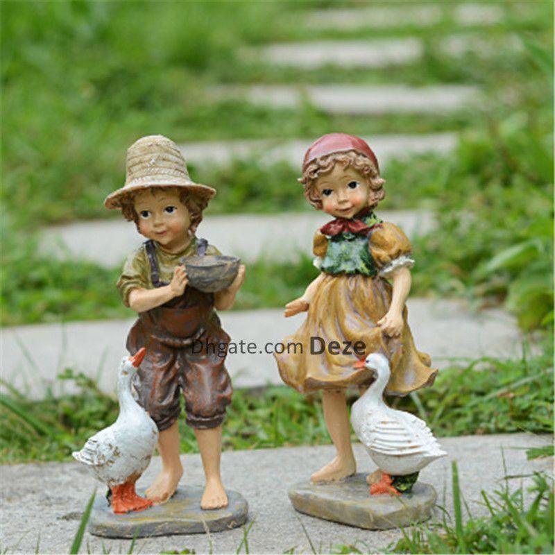 Acheter 22cm / 24cm Haut Jardin Résine Décoration Américaine Fille ...