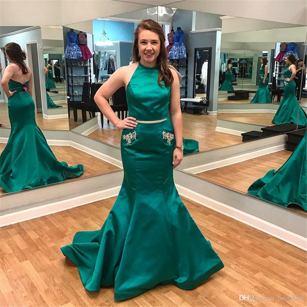 Green Mermaid Prom Dresses Halter Backless Crystals Pockets Long