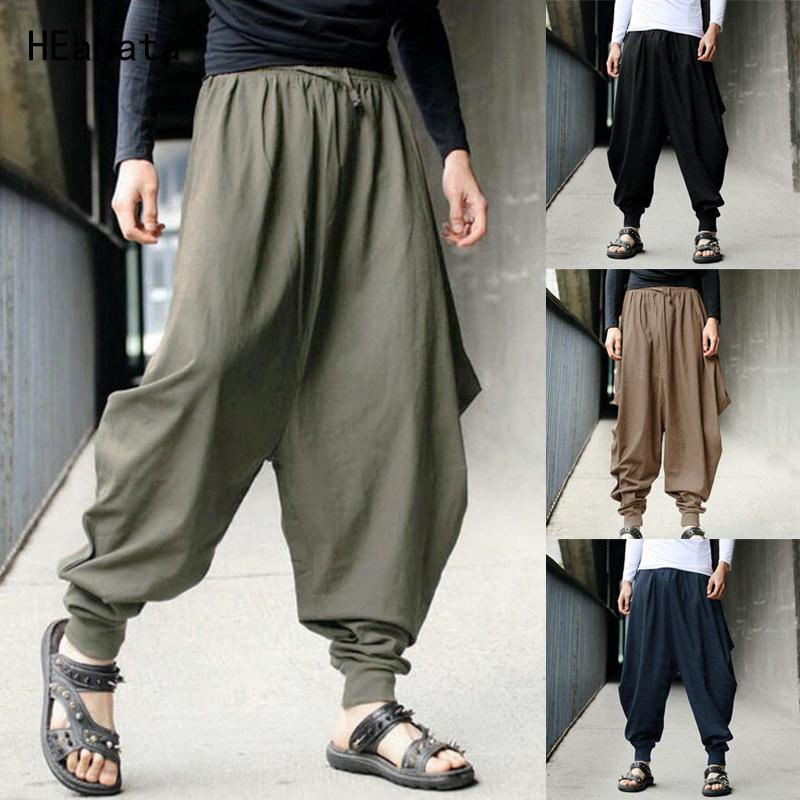 Compre 2018 Pantalones De Harén De Lino De Algodón Sueltos Hombres Samurai  Japonés Boho Entrepierna Holgada Hakama Pantalones De Chándal Cruzados  Pantalones ... afe98acaebb
