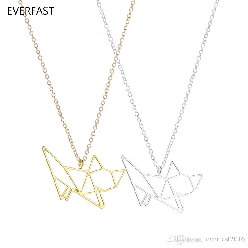 Everfast New Fashion Cute Origami Cat Pendant Necklace Hollow Kitty Cats Animal Long Chain Necklace Women Charm Bijoux Jewelry EFN030-A