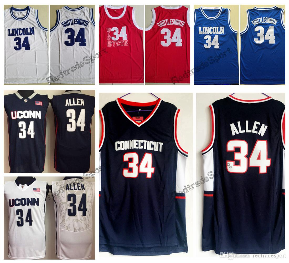 6f3f42fe93b 2019 Mens Vintage Ray Allen Connecticut Huskies College Basketball Jerseys  He Got Game Lincoln High School 34 Jesus Shuttlesworth Stitched Shirts From  ...