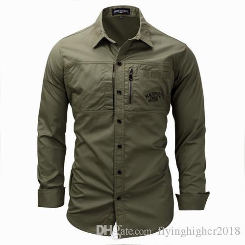 Camicia uomo militare manica lunga uomo slim fit camisa masculina Camicia kaki verde militare Camicia uomo di alta qualità