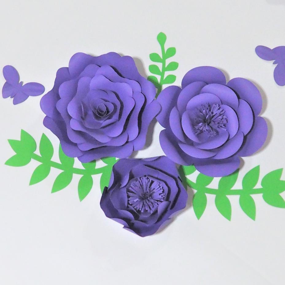 Of 3 Giant Paper Flowers3 Leaves 2 Butterfly For Showcase Wedding
