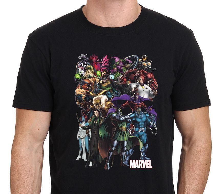 Marvel Villains Super Hero T-Shirt Custom Men's Black Size S-to-XXL