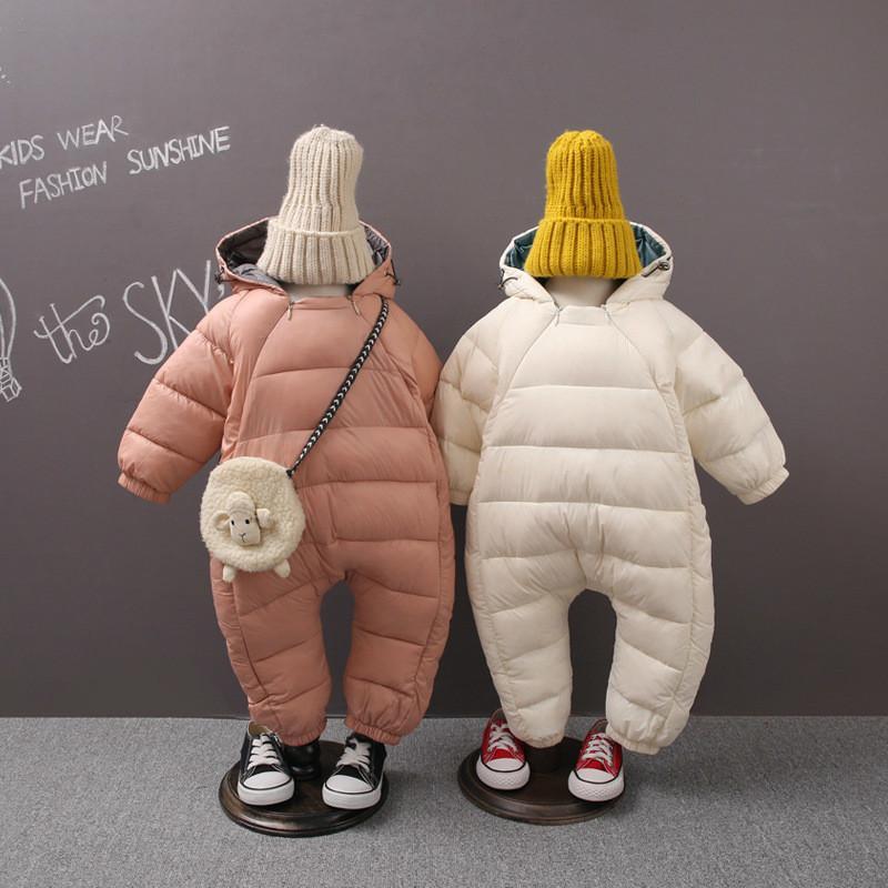67f72e76a Winter Kids Warm Jumpsuit Children Zipper Infant Puffer Overall ...