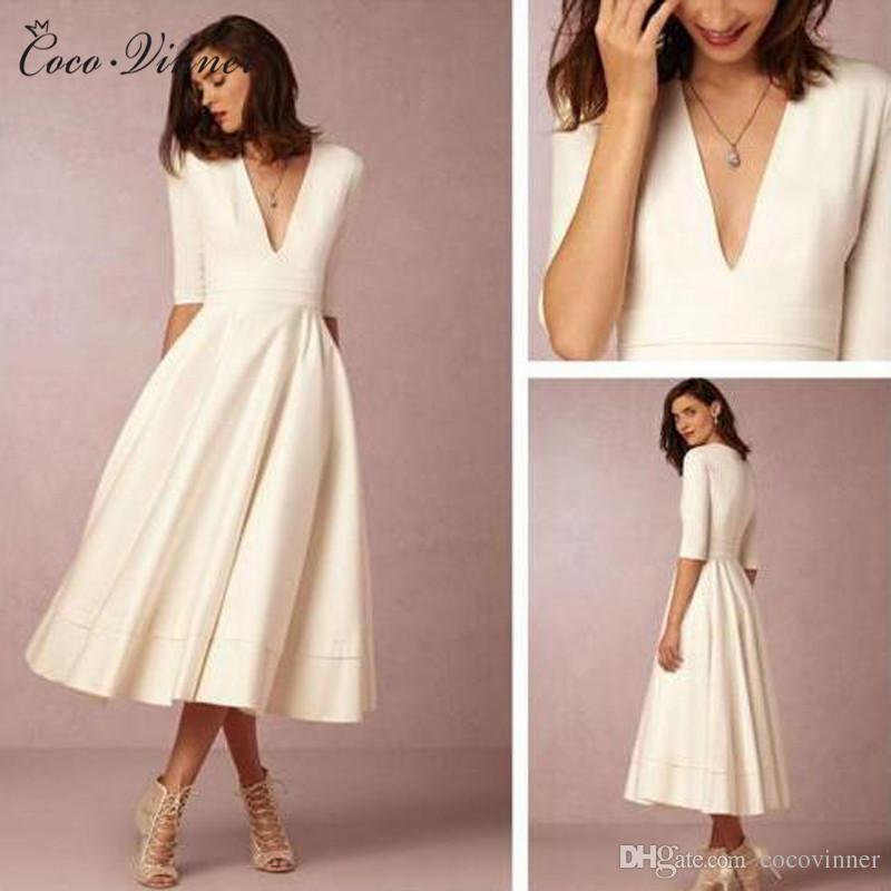 C.V Brife Design Satin Simple Short Wedding Dress Half