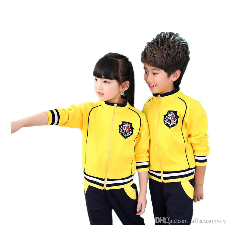 406f5e163530d Boys Girls School Uniform Baseball Jackets Windbreaker Jacket Pants  Children sports Suit Kids Tracksuits clothes For 3-14T