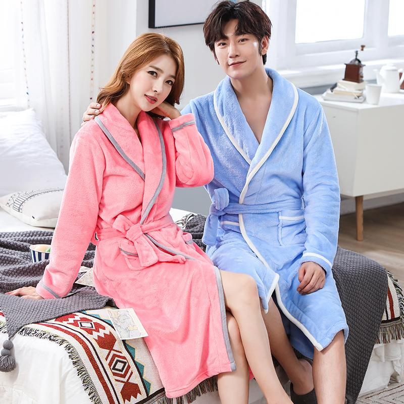 Flannel Women Men Sleepwear Robes Thick Warm Winter Long Robe Bathrobe  Casual Soft Plus Size Robe For Lovers Nightwear Pajamas UK 2019 From  Tutucloth a7912fe5a