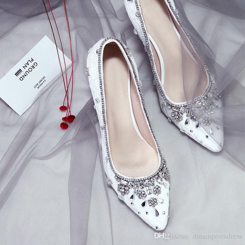ad547149b3bd White Red Lace Wedding Shoes For Bride Women High Heels Bridal Crystal  Shoes Rhinestone Heel Sandals Plus Size Wedding Pumps Lace Wedding Shoes  Ladies Shoes ...