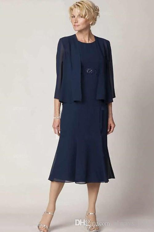 Navy Blue Mother Of The Bride Groom Dresses With Jacket Bolero Elegant High Quality Chiffon Wedding Party Gown
