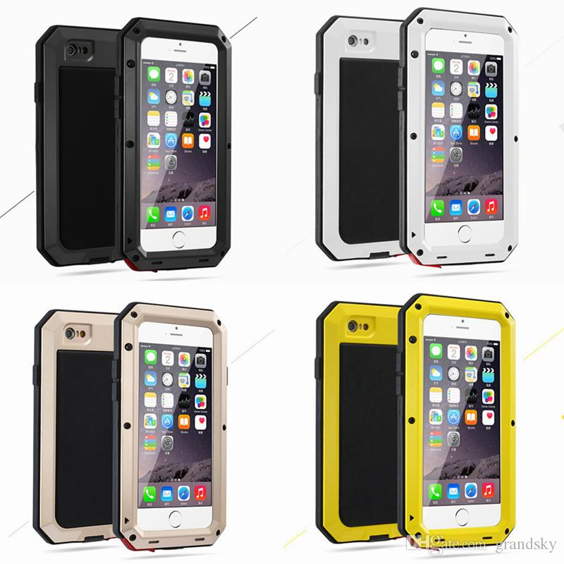 brand new 7cbbf beb54 Luxury Doom Armor Shockproof Dropproof Rain-Waterproof Metal Case for  IPhone 7 6S 6 6S Plus/ 5S SE with Gorilla Glass Aluminum Cover