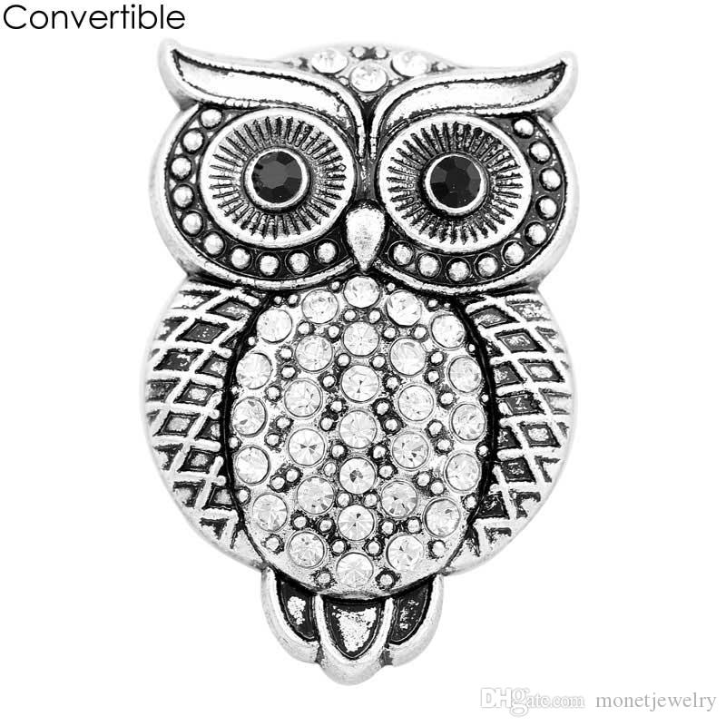 Elegant Rivca High Quality Owl inserts convertible Rhinestone alloy magnetic Brooch fit antique Scarf Clip Vintage Muslim pin Brooches