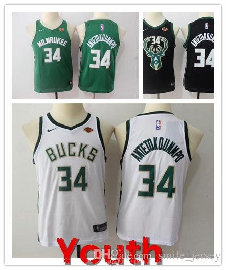 7a6e209c453 2018 2019 New Youth 34 Giannis Antetokounmpo Milwaukee Jersey Bucks Kids  Basketball Jersey Stitched Giannis Antetokounmpo Boys Basketball Jersey  From ...
