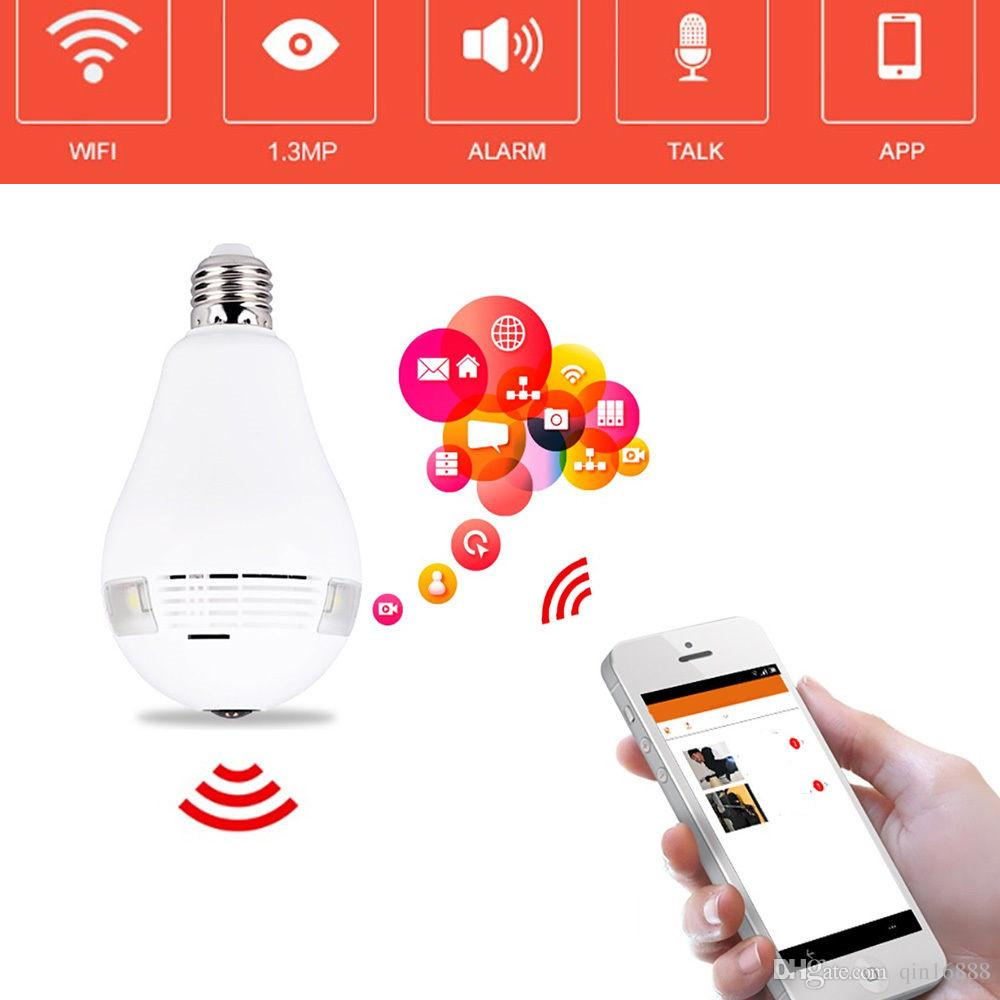 Wireless Wifi IP Camera 360 Panoramic 1 3MP Baby Monitor E26/E27 LED Bulb  Light Protection of family safety
