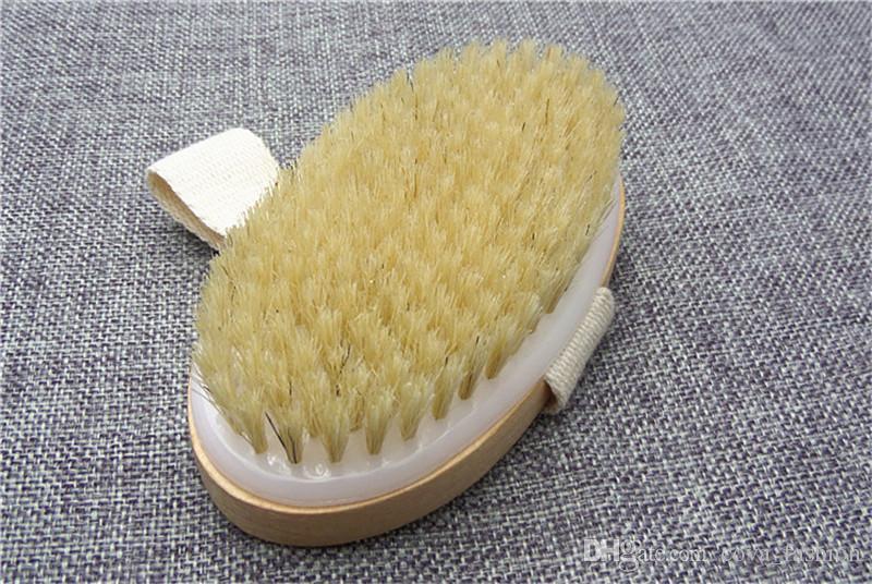 Corpo de Pele seca Escova de Cerda Macia Natural De Madeira Banho de Chuveiro Escova de Cerdas SPA Corpo Escova sem Alça