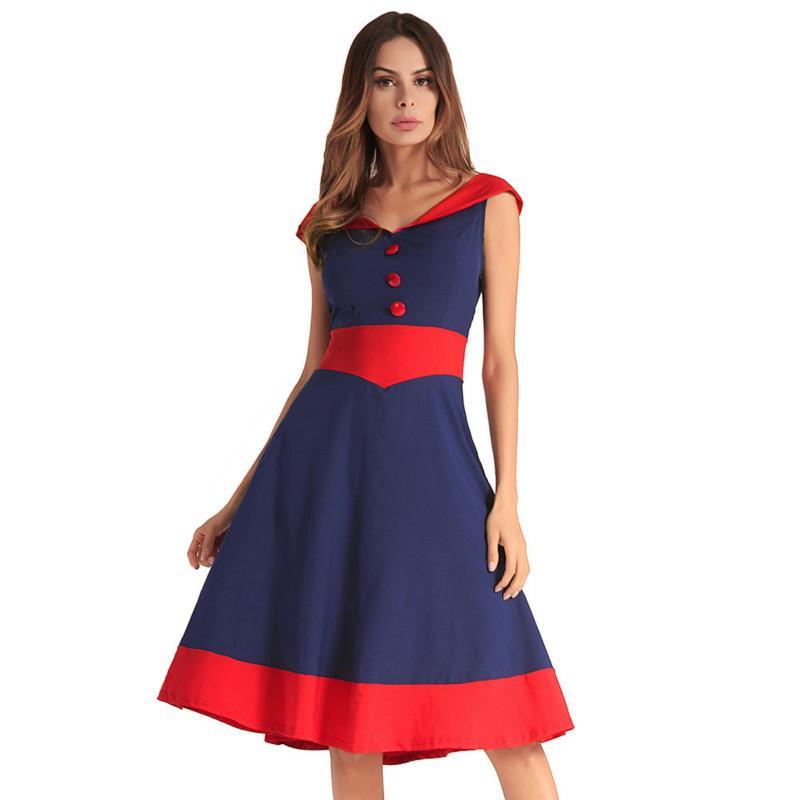 Summer Sleeveless Prom Dress Ladies V Neck Hit Color Pleated Dresses