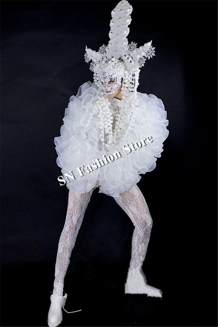 BC95 Ballroom Tanz sexy Männer Kostüm weiß Kopfschmuck Roboter Anzug Sänger Bar Bühnenshow trägt Kleidung Kleid Maske Party Leistung Modell zeigen