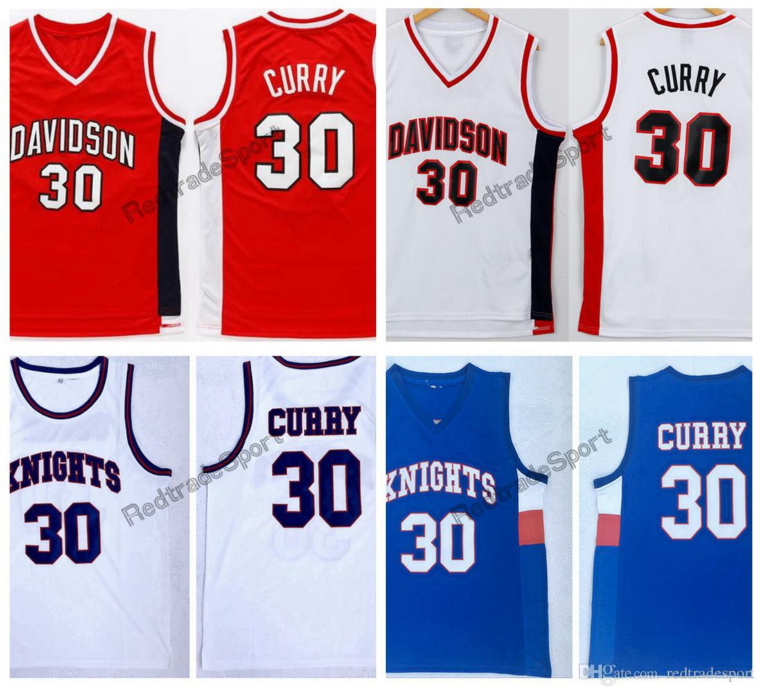 Hombres Davidson Wildcat Stephen Curry 30 College Basketball Jersey Caballeros baratos Stephen Curry Charlotte Christian High School Camisas cosidas