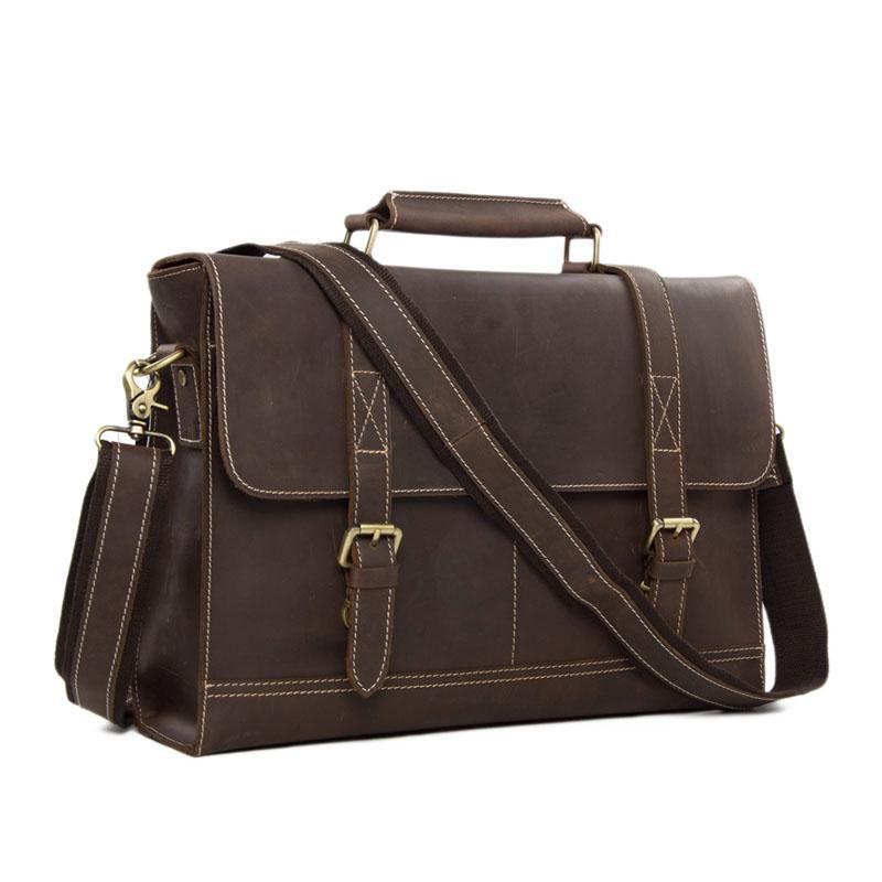 ROCKCOW Business Men S Handmade Leather Briefcase Messenger Satchel Bag  14   Laptop Crossobdy Shoulder Bag 6938 Briefcase Wanker Mens Satchel Bags  From ... 5e168d593d