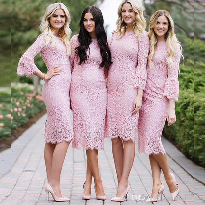 Country Style Sheath Pink Lace Bridesmaids Dresses Short Jewel Neck ...
