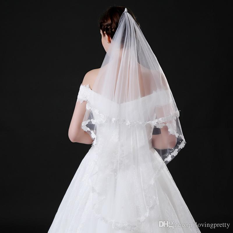 JaneVini 2018 Simple White Short Wedding Veils Tulle One Layer Bridal Veil Butterfly lace Edge Fingertip Veil Beautiful Wedding Accessories