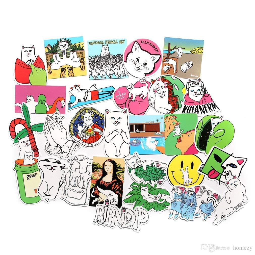 Pack cool laptop sticker pack cute funny cat sticker for laptop skateboard helmet motorcycle bicycle luggage bumper stickers kids teen sticker for wall