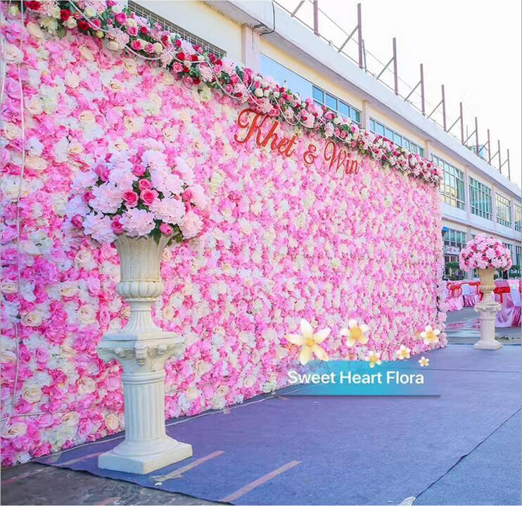 Flower Decoration Wedding: 60X40CM Romantic Artificial Rose Hydrangea Flower Wall For