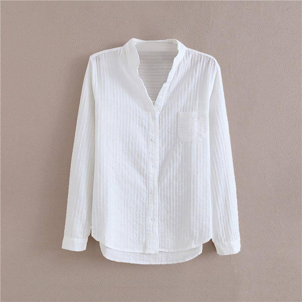23a1d9f3f1 ... Camisa De Corte Slim En Algodón Con Base Blanca Para Mujeres Camisa De  Cuello En V Con Cuello En Pico Slim Fit En Algodón Blanco Camisa De Manga  Larga ...