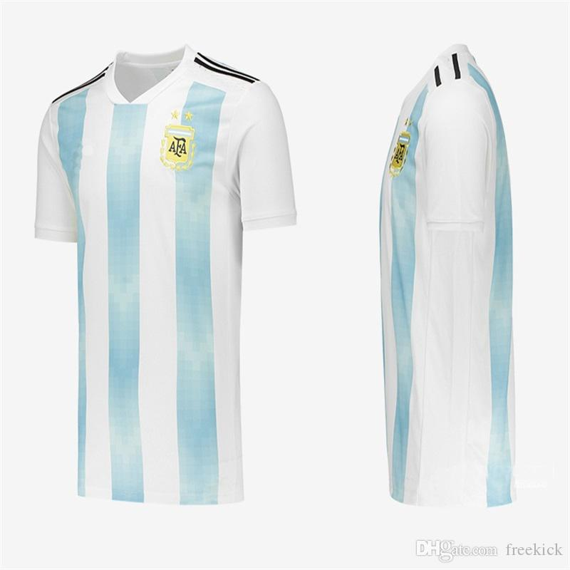 7a64c2ffa Thailand Quality 2018 World Cup Jerseys Argentina Home Blue And Away Black  MESSI Higuain Banega Cheap Soccer Jerseys 2 UK 2019 From Freekick