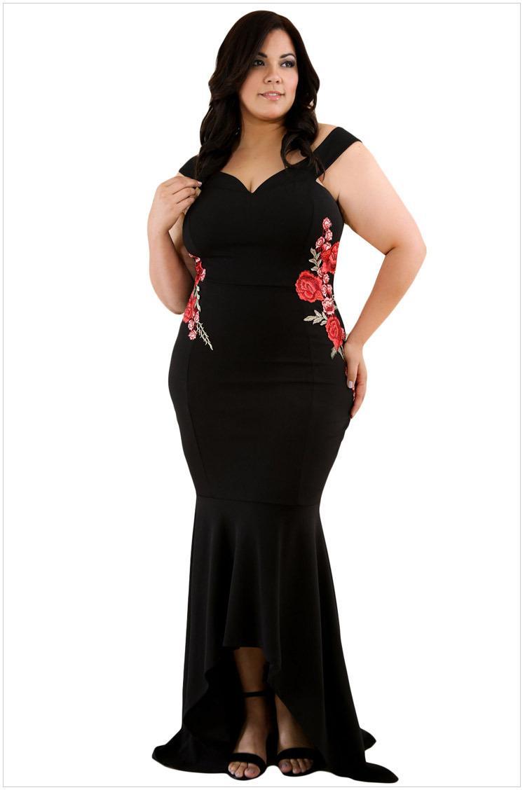 a7671e3cc Compre Bordado De La Manera De Las Rosas Vestido De La Sirena Más El Tamaño  Maxi Sexy Tanque Negro Con Cuello En V Largo Elegante Fiesta Vestido Formal  De ...