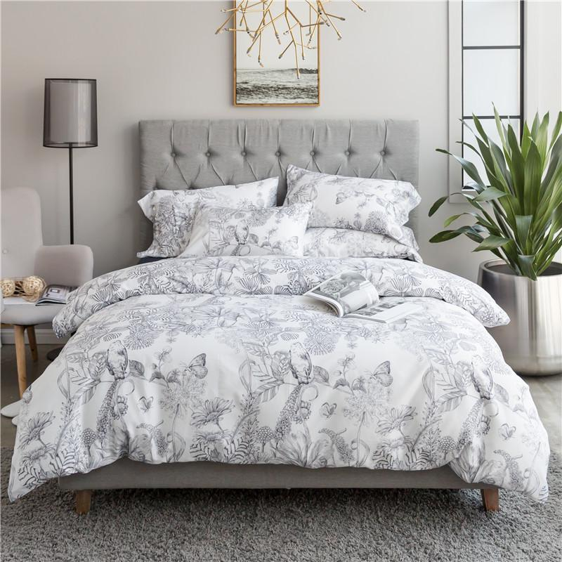 Egyptian Cotton Silky Bed Sheet Set Floral Leaf Plant Queen King Size  Oriental Bedding Sets Boho Bed Set Duvet Cover Pillowcase Black And White  Bedspread ...
